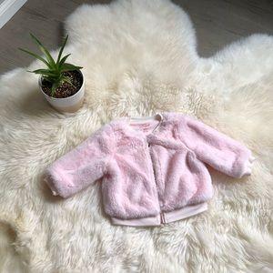 Cat & Jack pink fuzzy coat baby girl- 6-9 months